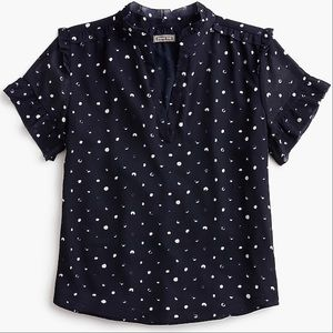 J Crew Point Sur Ruffle Blouse in Painted Dot XL